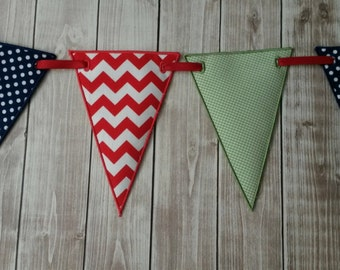 Fabric Triangle Banner with Riley Blake Fabrics, Birthday Banner, Primary Colors