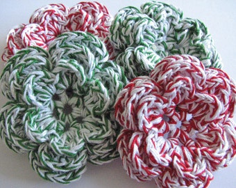 Crochet Flower Appliques - Wonderful Christmas Colors- Red, Green and White Flowers