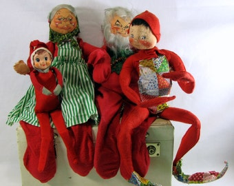 "Vintage 1966 Christmas Annalee Mobilitee Dolls 20"" and a Little Side Kick"
