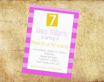 printable birthday invitation, boy or girl birthday invitation