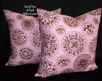Pillows, Decorative Throw Pillows, Accent Pillows, Pillow  Covers, Home Decor - Pink and Brown - Set of Two 18 Inch