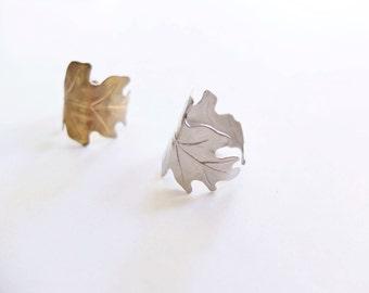 Adjustable Oak Leaf Wrap Ring - Gold or Silver