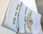 Embroidered Tea Towel Flour Sack Dinna Fash Set of 2