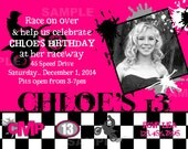 Motocross Invitation Photo Birthday Hot Pink Purple Girls Dirt Bike Motorcross Supercross ATV Racing