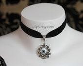 """Evil eye-Gothic Lolita Gorgeous Velvet  1.5CM Ribbon Choker Necklace Vampire Queen Party-adjustable length 12.6""""-15""""(NV049)"""