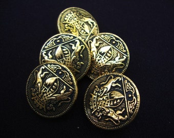 Five 1970's Vintage Gold Metal Buttons Gold Color Nautical Military Buttons Shank Coat of Arms Heraldic 94
