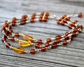 Honey Amber Three Strand Link Bracelet in Sterling Silver
