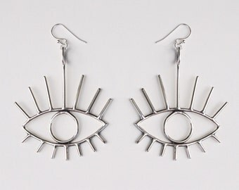 Bright Eyes earrings - sterling silver eye earrings - statement jewelry - silver eye earrings - evil eye earrings - eye jewelry