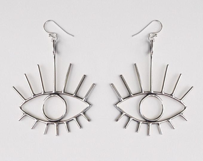 Bright Eyes earrings - sterling silver eye earrings - statement jewelry - silver eye earrings - evil eye earrings - eye jewelry