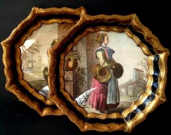 Pair of Ornately Framed Victorian Women Prints