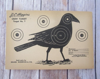 Vintage J.C. Higgins Crow Target No. 7 shooting Paper c. 1940s collectible wall art