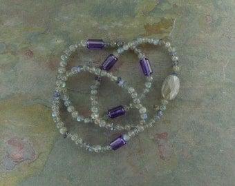TRIO: LABRADORITE AMETHYST Iolite Stretch Bracelets All Natural Semi-Precious Stones Healing Metaphysical