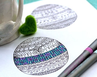 Easter Egg and Bunny Coloring Page Set Adult Child Holiday Pattern Design Printable Instant Download