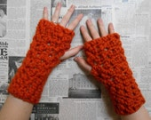Chunky Crocheted Wristwarmers - Tangerine