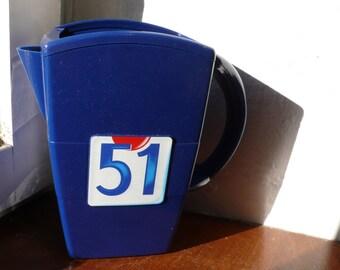 Retro Bistroware Pitcher, 51 Ricard pastis, Aperitif Blue jug, Water carafe jug, French vintage advertising, barware, French Bistro carafe
