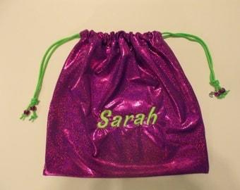 Sarah Personalized GYMNASTICS GRIP BAG w/ crystal charm~magenta purple sparkle w/ lime ~ match 2 ur leotard Gymnast Birthday gift present