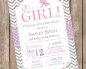 Dragonfly baby shower invitation, pink and purple baby shower invitation, chevron invitation, typography invitation, printable invitation