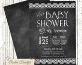 Chalkboard baby shower invitation, chic baby shower invitation, shabby baby shower invitation, lace invitation, girl or boy invitation