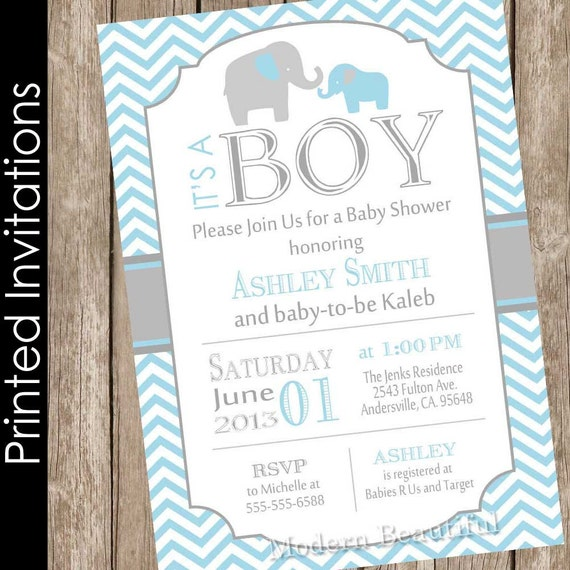 Printed Boy Elephant baby shower invitation blue and grey blue