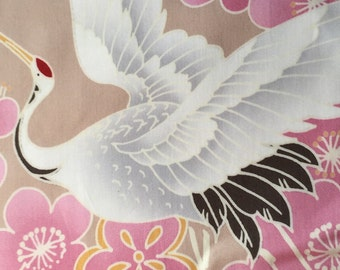 One yard Japanese kimono cotton fabric crane bird printed limited offer Pink based colour