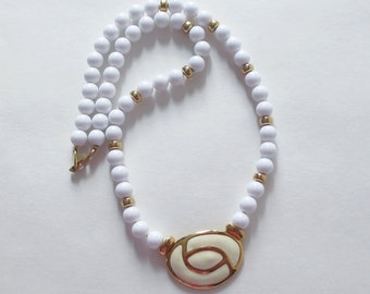 Napier White and Gold Beaded Necklace Vintage Napier Necklace