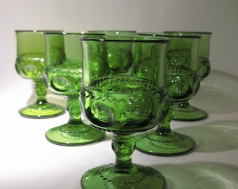 6 Green King's Crown Thumbprint Glasses