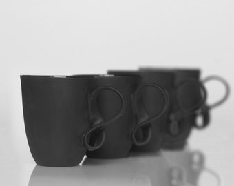 MOBIUS cups, set of four, black porcelain china mugs for coffee or tea handmade by ENDE