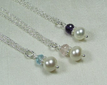 Bridesmaid Gift Set of 3 Bridesmaid Jewelry Gemstone Pearl Necklace Bridesmaid Necklace Dainty Pearl Birthstone Necklace Wedding Jewelry