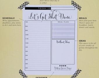 Daily Planner, Get Sh!t Done, Digital Download, Printable Planner