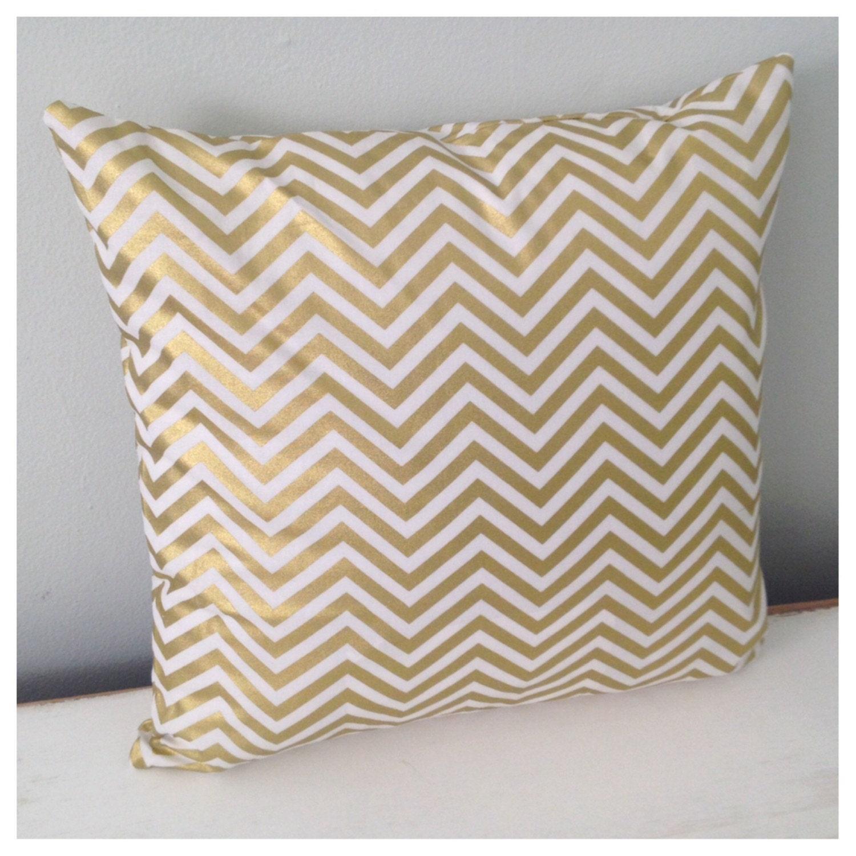 CLEARANCE Metallic Gold Chevron Throw Pillow Cover by maxandgrace