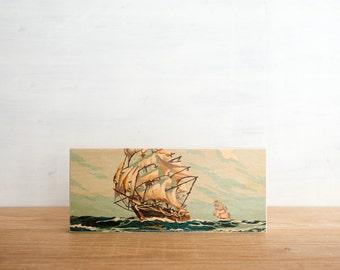 Paint by Number Art Block 'Sail Away' - sailing, tall ship, marine art, vintage seascape