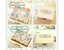 Lovely 12 stamps simple wooden & rubber DIY diary stamp cute Scrapbooking Crafts