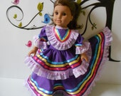 "Mexican folklorico Jalisco dress for American Girl and similar 18"" dolls handmade in USA"