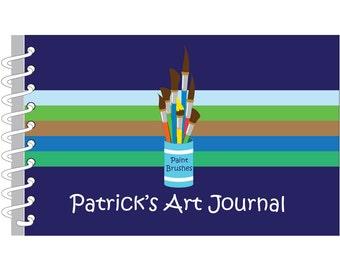 Blue Green Stripes Personalized Art Journal | Custom Sketch Book | Monogrammed Sketchbook | Personalized Gift for Kids