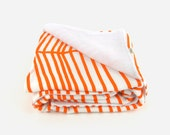 Throw blanket for babies, toddler and Kids / Orange & white geometric baby blanket / Large chevron colorful nursery decor