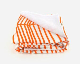 Throw blanket for babies, toddler and Kids / Orange & white geometric baby blanket / Large chevron colorful nursery decor
