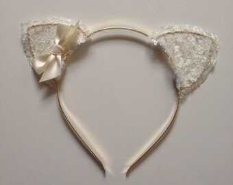 Cream Lace Cat Ears with Bow