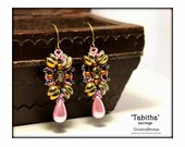 Bead pattern 'Tabitha' earrings with Piggy beads and Fire Polished beads