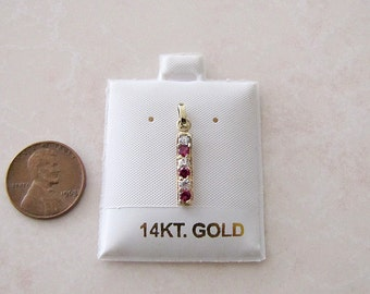 14K gold Ruby CZ Pendant, Minimalist Gift, gold danity pendant