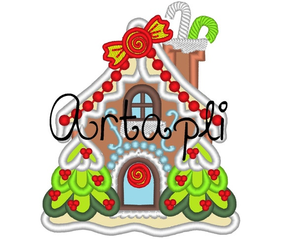 Christmas Ginger House Machine Embroidery Applique By Artapli