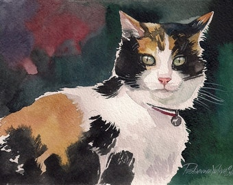 Print of  Watercolor Painting Calico Cat Kitty Kitten Three Colored Cat  Cute