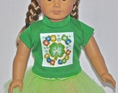 Green Rub Me For Luck Top Neon Green TuTu Fits American Girl Doll