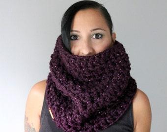 Chunky Wool Blend Oversized Cowl, Bling and Sparkle Chunky Wide Infinity Scarf , Winter Accessories