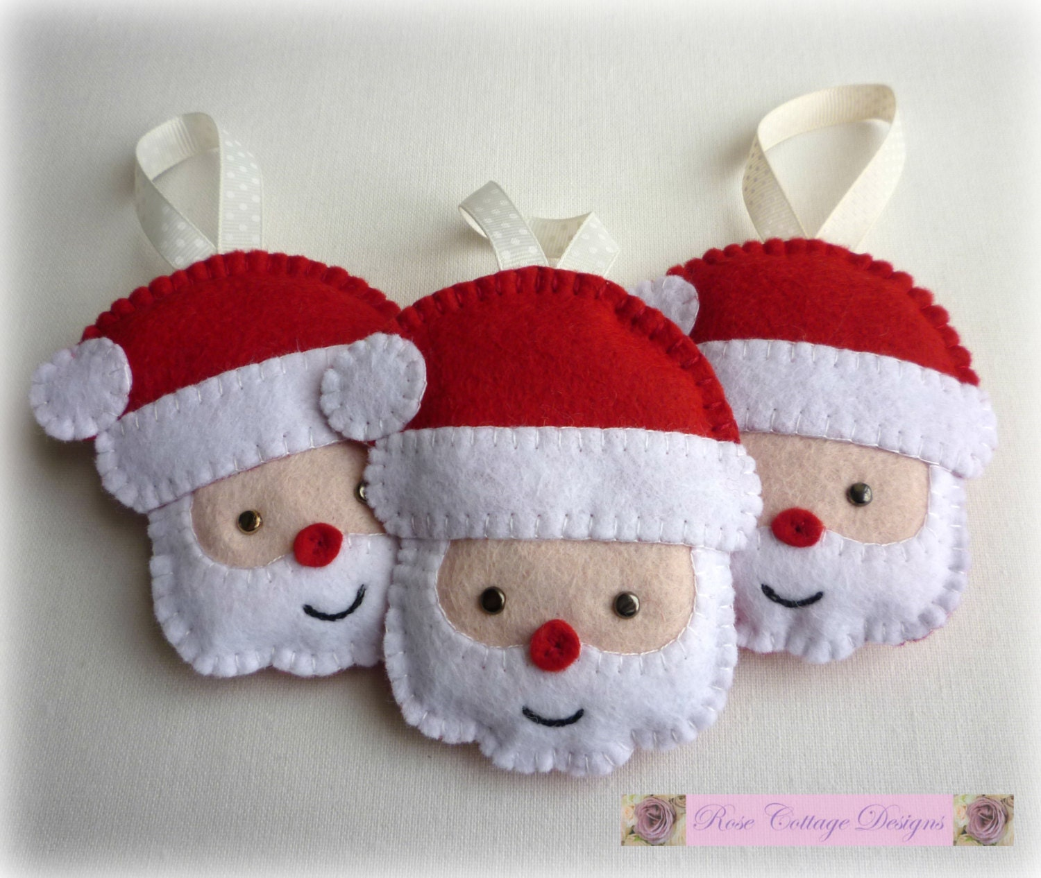 Felt santa handmade ornaments by rosecottagedesignss on etsy