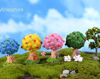 4 pcs  5.5x3 cm  Resin Mini Tree Blue/Pink/Yellow/Green  Mininature Figurine/Terrarium Figurine