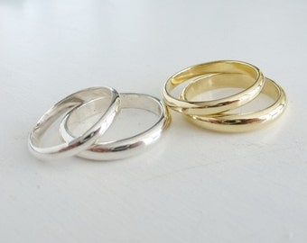gold wedding ring set 3 mm and 4 mm bands 18k 14k gold - Simple Wedding Ring Sets
