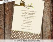 owl baby shower invitation owl first birthday baby boy invite Gender reveal invitation baby sprinkle bash (item 143) shabby chic invitations