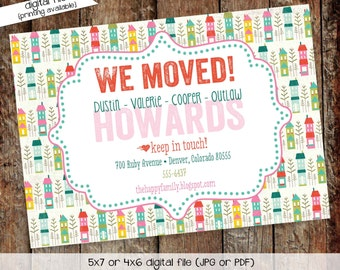 Moving Announcement housewarming moved new home sweet home house we've moved postcard announcement bash (item 703) shabby chic invitations