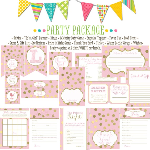 gold faux foil polka dots 1307 package AS IS Matching games, ticket, banner, bingo, thank you card, water bottle wraps, cupcake toppers