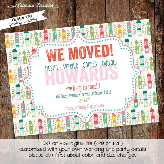 Moving Announcement new home new address we've moved postcard home sweet home housewarming invitation change of address 703 Katiedid designs